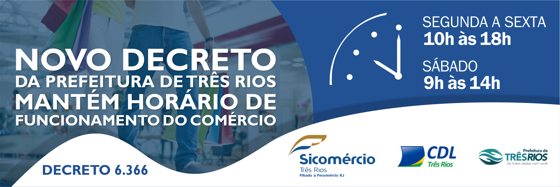 Decreto 6366 mantém horário do comércio em Três Rios