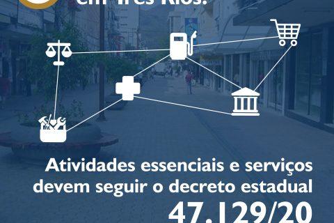 Horário do comércio em Três Rios para atividades essenciais e serviços