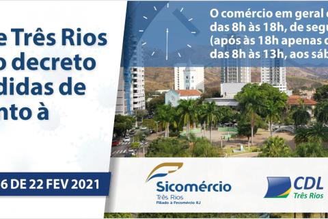 Prefeitura de Três Rios  publica novo decreto  sobre as medidas de  enfrentamento à COVID 19