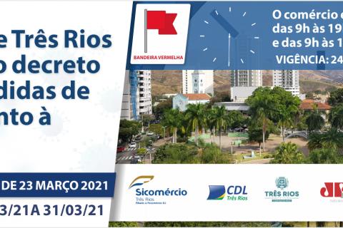 A prefeitura de Três Rios publica Decreto 6514 de 23 de março de 2021