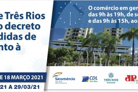 A prefeitura de Três Rios publica Decreto 6509 de 18 de março de 2021