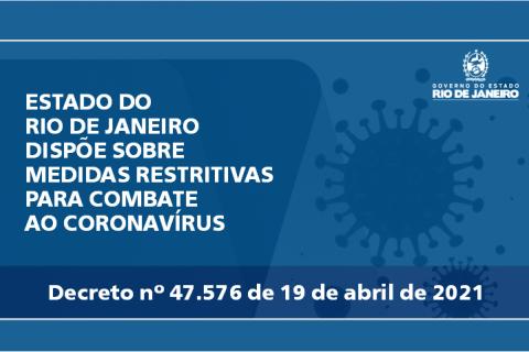 ESTADO DO RIO DE JANEIRO DISPÕE SOBRE MEDIDAS RESTRITIVAS PARA COMBATE AO CORONAVÍRUS
